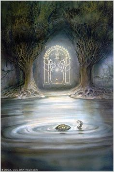 A John Howe version of the Moria Gate. John Howe is know to his draws related with Middle-Earth and all LOTR history and some work at Magic the Gatherin. Jrr Tolkien, Tolkien Tattoo, Lotr Tattoo, Gandalf, Legolas, Thranduil, Alan Lee, Fellowship Of The Ring, Lord Of The Rings