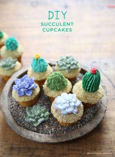 DIY succulent cupcakes