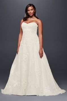 Beaded lace appliques sparkle softly across the bodice and full organza skirt of this soft and romantic plus size A-line gown.   Jewel, a David's Bridal exclusive  Plus size  Polyester  Sweep train  Lace-up back; fully lined  Dry clean  Imported  Also available in regular,  petite, extra length and plus size extra length