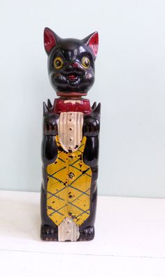 Vintage Antique Redware Black Cat Whiskey bottle - RichardandRuthie, etsy