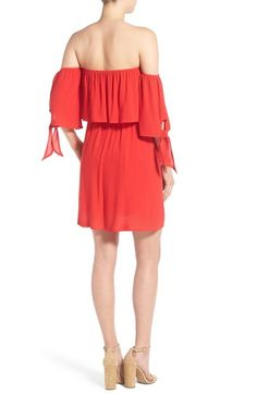 Free shipping and returns on dee elle Off the Shoulder Dress at Nordstrom.com. A ruffly overlay and matching, knotted sleeves create graceful movement on a striking off-the-shoulder dress cut from fiery scarlet crepe.