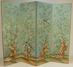 CHINESE PAINTED PAPER FOUR- PANEL SCREEN, 18th C. Decorated in vivid colors with figures and buildings in landscape on one side, flowers and birds with rockwork on the reverse. Each panel 22 x 71.