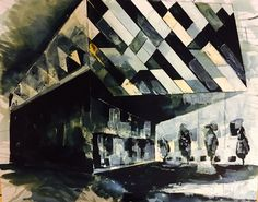 Armani building, spinningfields, Manchester. Mix media using Quink, acrylic and bleach by Tom Quigley