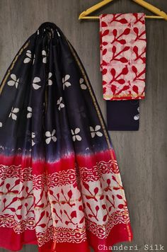Price Rs 1600 + Shipping extra Hand block Printed chanderi silk dress materials Top and dupattas chanderi silk (2.50×2 mtrs) Bottom cotton (2.50 meters) Chanderi Suits, Chanderi Silk Saree, Patiala Suit, Churidar Suits, Anarkali Suits, Silk Sarees, Salwar Kameez, Silk Suit, Exclusive Collection