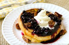 Blueberry and Mascarpone Stuffed French Toast with Candied Pecans. OMG