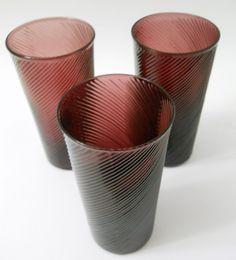 Amethyst Purple Drinking Glasses Ridged Art Hand Blown Set of 3 Tumbler Vintage #Unknown