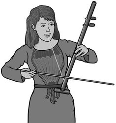 k'ny(k'ni)  / k'ny player / Vietnamese musical instrument / Grayscale image.