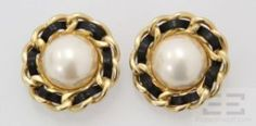 Erwin Pearl Black Woven Leather & Gold Trim Pearl Clip On Earrings