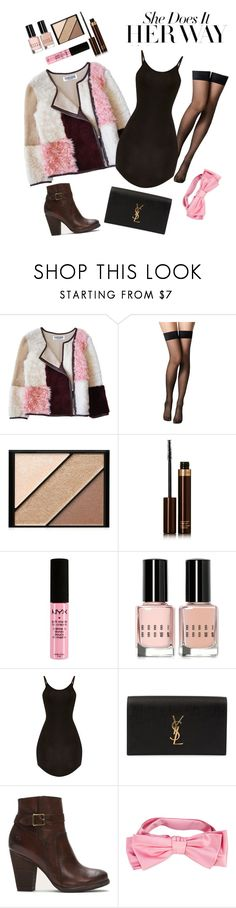 """""""Patchwork"""" by riakko ❤ liked on Polyvore featuring Florence Bridge, Fogal, Elizabeth Arden, Tom Ford, NYX, Bobbi Brown Cosmetics, Yves Saint Laurent, Frye and Gucci"""
