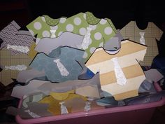 Onesie party favor boxes using tags bags boxes & more 2 Cricut cartridge. Cute with glitter paper to make the neck tie Cricut Cartridges, Party Banners, Favor Boxes, Party Favors, Onesies, Glitter, Tie, Paper, Projects