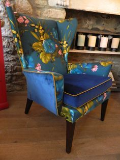 mixed fabric wingback chair