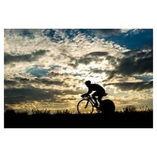 silhouette of a cyclist Poster