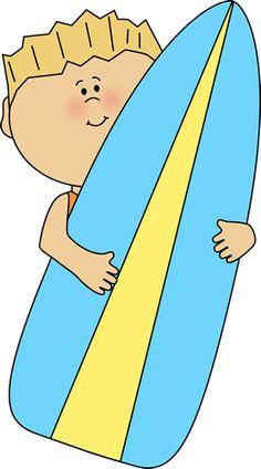 Boy holding a surfboard.
