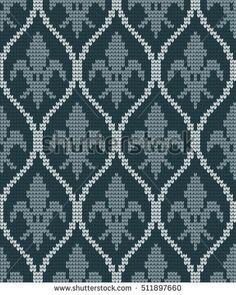 Venus Metallic Mini Damask wallpaper from Kenneth James in Charcoal Cross Stitch Borders, Cross Stitching, Cross Stitch Embroidery, Cross Stitch Patterns, Motif Fair Isle, Fair Isle Chart, Lace Patterns, Beading Patterns, Crochet Patterns