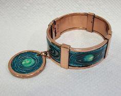 matisse jewelry enamel | RARE VINTAGE MATISSE RENOIR COPPER ENAMEL MODERNIST BRACELET CLAMPER ...