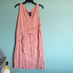 Pink ruffle dress Pink ruffle dress! Very comfortable! New York & Company Dresses