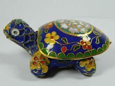 Blue Cloisonne Copper Enameled Turtle Statue Figurine Box