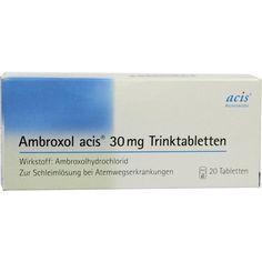 AMBROXOL acis 30 mg Trinktabletten:   Packungsinhalt: 20 St Trinktabletten PZN: 08535433 Hersteller: acis Arzneimittel GmbH Preis: 1,92…