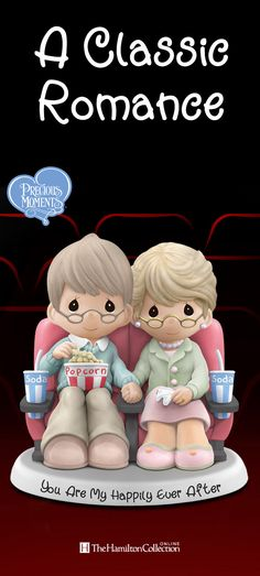 Celebrate your own love story with this Precious Moments figurine featuring a charming couple sitting hand-in-hand, watching a movie on their special date night: