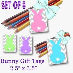 Bunny Tags, Easter Gift Tags, Easter Gift Favor Tags Set of 8 from Ms.Med Teaching and Learning  on TeachersNotebook.com -  (1 page)  - Bunny Tags, Easter Gift Tags, Easter Gift Favor Tags Set of 8