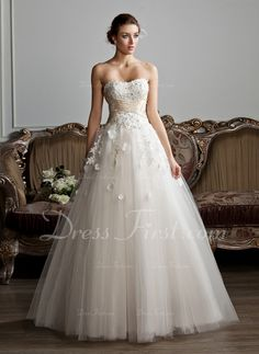 Ball-Gown Sweetheart Floor-Length Ruffle Sash Beading Appliques Lace Flower(s) Lace Up Strapless Sleeveless Church General Plus Spring Summer Fall Other Colors Tulle Wedding Dress