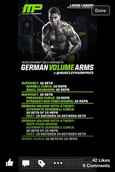 Mp workout of the day arnold blueprint to mass chestbackabs german volume arms malvernweather Choice Image