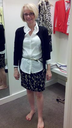 Use a skinny belt to accentuate your waist. This outfit is great for work, with not too big a print on the lower half.