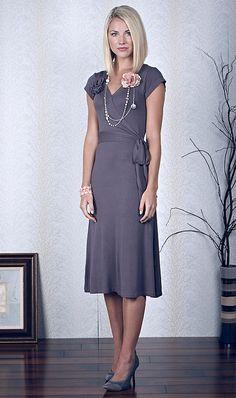 Modest Dresses: Wrap Dress in Stone Grey $44.99 http://www.jenclothing.com/mi-7014-stone.html
