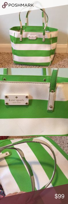 """Kate spade leather tote Green and white striped Kate spade leather tote in textured leather with silver hardware, fair used condition has a few loose threads and could use a heavy cleaning. Otherwise there is a lot of life left in this bag, no exposed piping 16"""" x 11 1/2"""" with 9 inch strap drop kate spade Bags Totes"""