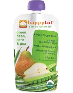 Happytot Organic Green Beans, Pear & Pea Squeeze Pouch 4.22 oz