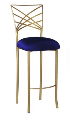 Gold Fanfare Barstool with Navy Stretch Knit Cushion (2)  With emerald crushed velvet fabric seat