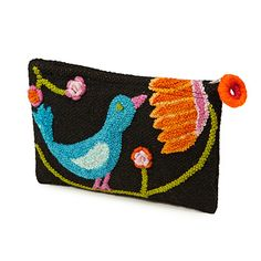 EMBROIDERED BIRD POUCH - hand-woven with curly, boucle thread, producing textures that are more varied and tactile than traditional embroidery.  original design by Jenny Krauss - UncommonGoods