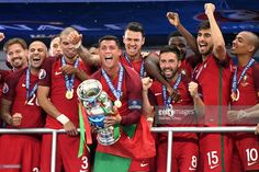News Photo : Cristiano Ronaldo of Portugal lifts the Henri...