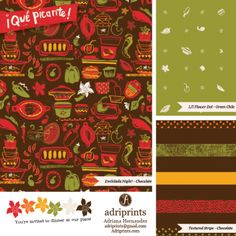 Que Picante - surface pattern collection by Adriana Hernandez (Adriprints)