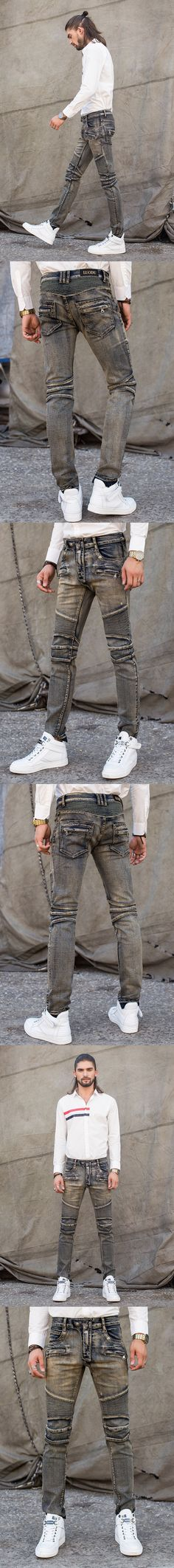 Free Shipping High Quality Mens Jeans Fashion Zipper Pocket Biker Jeans Hip Hop Skinny Jeans Men Large Size Mens Pants