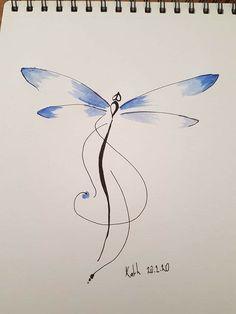 Dragonfly Tatoos, Watercolor Dragonfly Tattoo, Dandelion Tattoo Design, Dragonfly Tattoo Design, Watercolor Mermaid, Dragonfly Art, Tattoo Designs, Mother Tattoos, Mom Tattoos