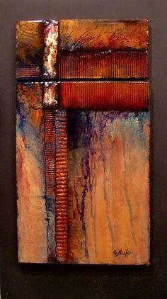 Esta pintura de dos partes de cobre tiene como uno de los elementos de textura. Todo se ha cumplido con una capa cristalina de la resina epoxi que protege y realza los colores profundos. Está montado sobre un panel negro.