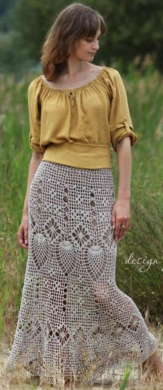 maxi crochet skirt by krinichka on Etsy