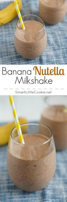 Sweet nutty and incredibly refreshing this Banana Nutella Milkshake is the perfect drink for kids and grownups alike SmartLittleCookie If your enjoying our pins why not come and visit our site where you'll find much more smoothie info. Köstliche Desserts, Dessert Drinks, Yummy Drinks, Delicious Desserts, Yummy Food, Desserts Nutella, Tasty, Nutella Milkshake, Milkshake Recipes
