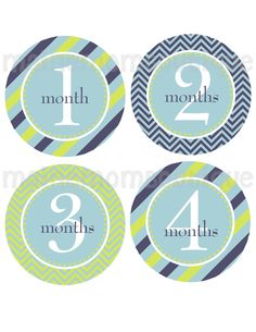 SALE Baby Boy Monthly Onesie Stickers Blue Green Stripes Chevron Mod PERFECTLY PACKAGED. $8.99, via Etsy.