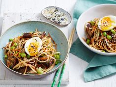 Miso eggplant and noodle salad with edamame & hard boiled eggs