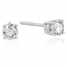 d2c508d96 New 1/2 CT VS2-SI1 Certified Diamond Stud Earrings 14K White Gold N-O