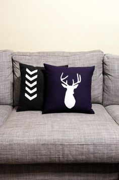 Navy Blue & White decorative deer Pillow Cushion by regansbrain, $38.00 A little something for Harvey maybe?