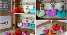 Some time ago, I was searching the net for some pattern of amigurumi heart but I did not like how they looked so I made the me … Embroidery Patterns Free, Stitch Patterns, Crochet Patterns, Country Crafts, Heart Patterns, Crochet Accessories, Amigurumi Patterns, Easy Projects, Little Gifts