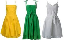 Yellow green grey dresses