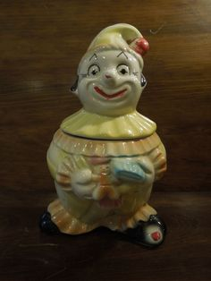 Vintage American Bisque Ceramic Clown Cookie Jar