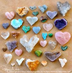 colorful heart-shaped rocks and minerals Love Rocks, Rocks And Gems, Rocks And Minerals, Heart In Nature, Heart Art, Crystals And Gemstones, Stones And Crystals, Gem Stones, Healing Stones