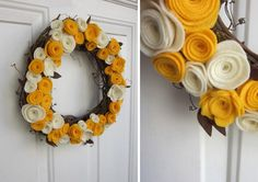 felt flower diy fall wreath