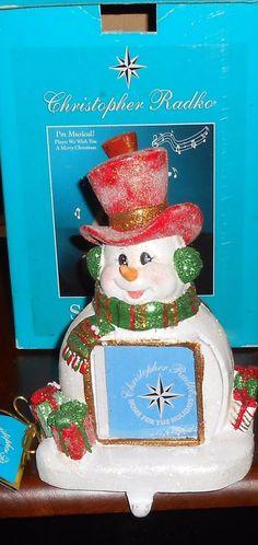 Christopher Radko Snow Topper Musical Stocking Holder & Frame Christmas Holiday