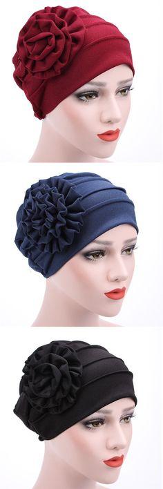 Women New Side Paste Large Flower Beanies Cap Casual Luxury Cotton Solid Bonnet Hat